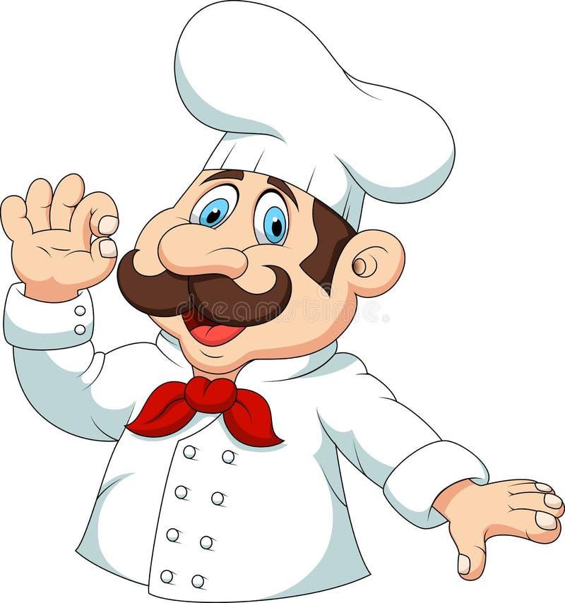 Desenhos animados do cozinheiro chefe com sinal aprovado ilustração stock