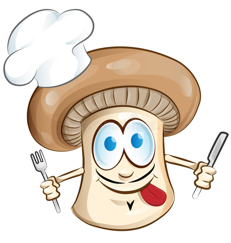 Desenhos animados do cozinheiro chefe do cogumelo ilustração stock