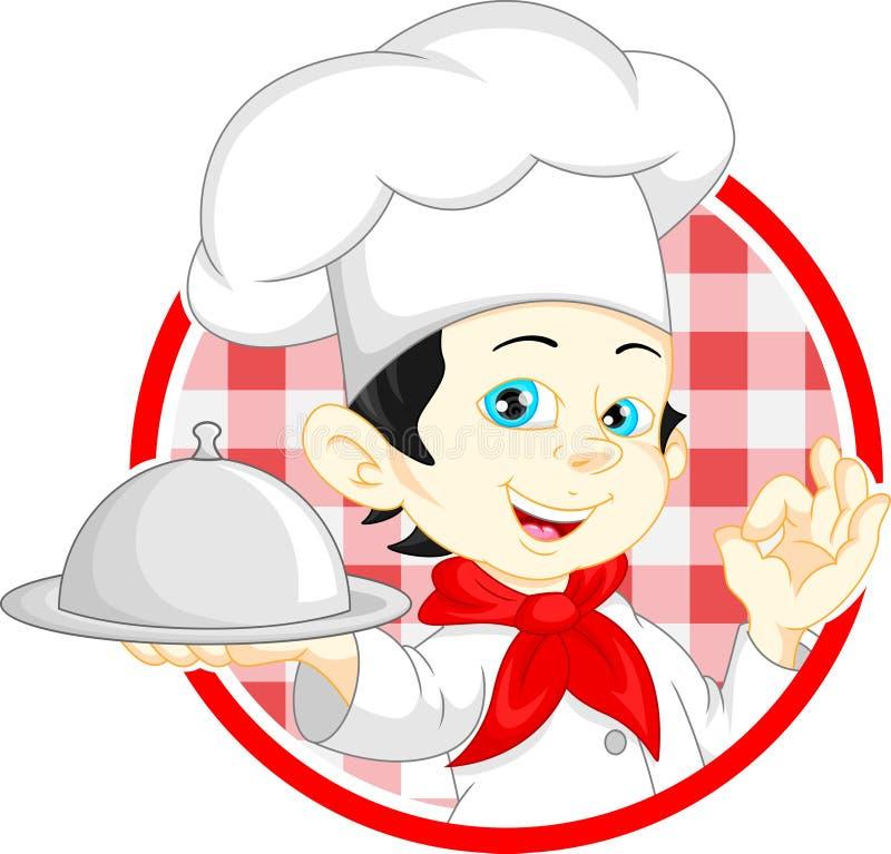 Desenhos animados do cozinheiro chefe do menino ilustração do vetor