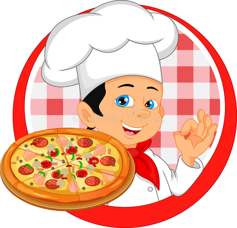Desenhos animados do cozinheiro chefe do menino com pizza ilustração stock