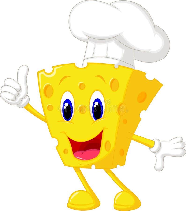 Desenhos animados do cozinheiro chefe do queijo ilustração do vetor