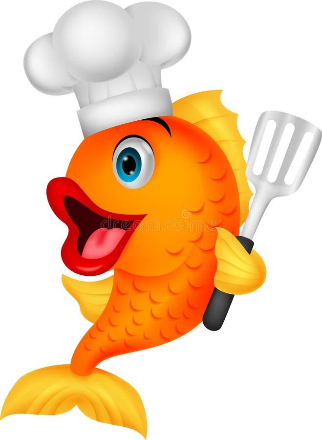 Desenhos animados do cozinheiro chefe dos peixes ilustração royalty free