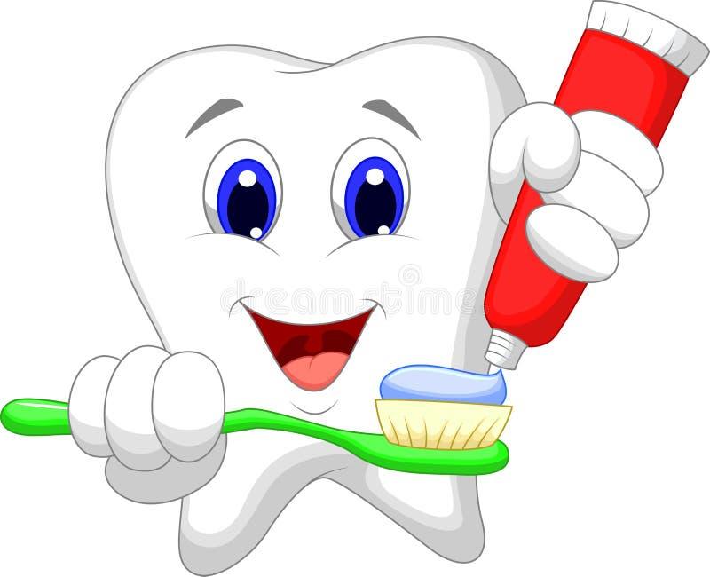 Desenhos animados do dente que põem a pasta de dente sobre sua escova de dentes ilustração royalty free