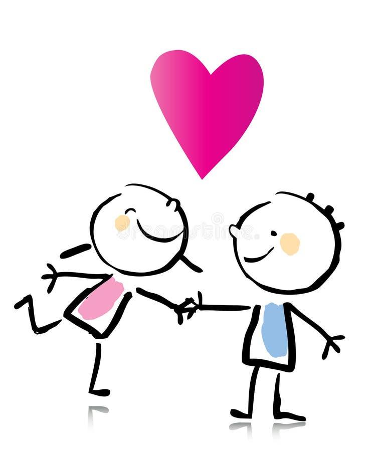 Desenhos animados do dia do Valentim ilustração royalty free