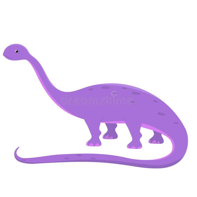 Desenhos animados do dinossauro do Diplodocus Ilustra??o do vetor isolada no fundo branco ilustração royalty free