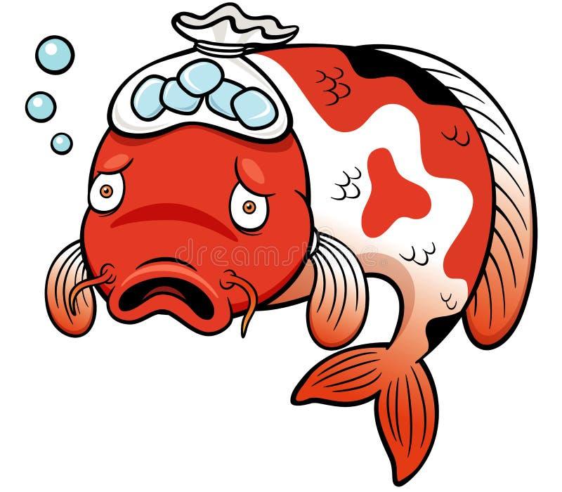 Desenhos Animados Do Doente Dos Peixes Ilustração Do Vetor