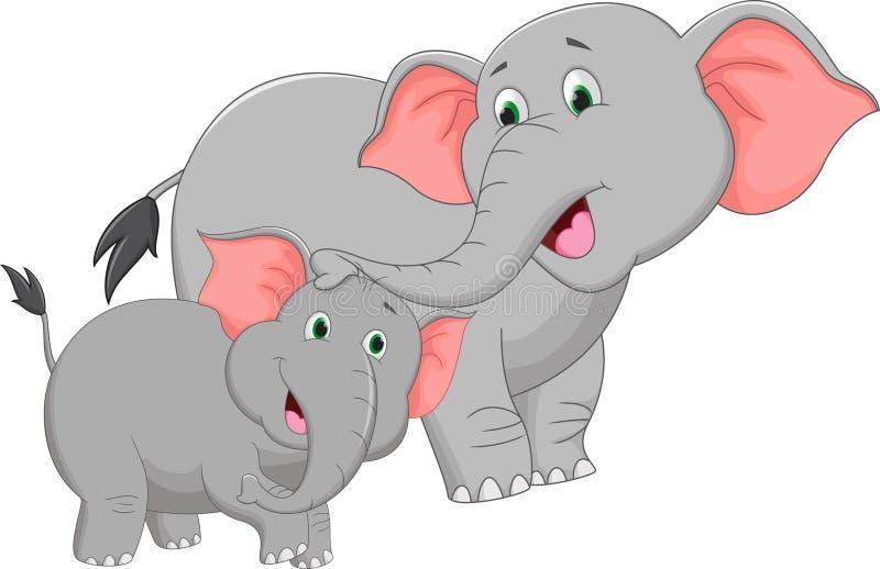 Desenhos animados do elefante da mãe e do bebê ilustração royalty free