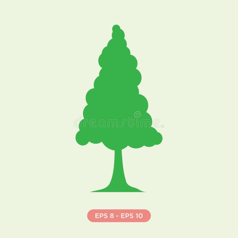 Desenhos animados do elemento do projeto do vetor da silhueta do ícone do pinheiro ilustração do vetor