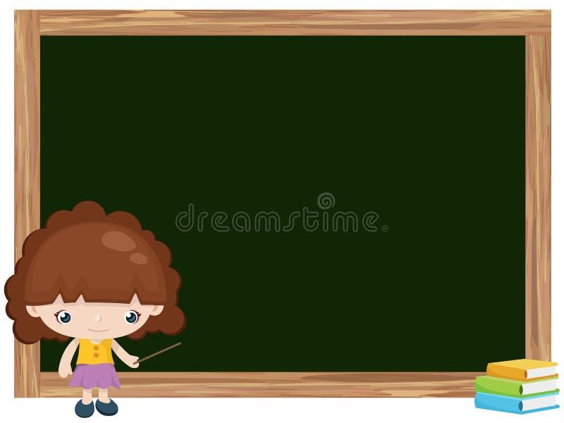 Desenhos animados do ensino da menina no quadro-negro ilustração royalty free
