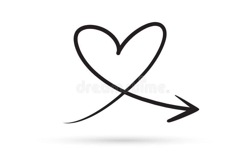 Desenhos animados do esboço da escova da garatuja da tração da seta do coração do amor isolados no wh ilustração do vetor