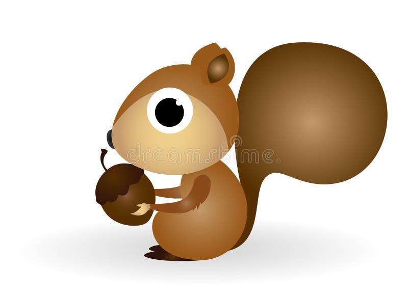Desenhos animados do esquilo com inclinação ilustração do vetor