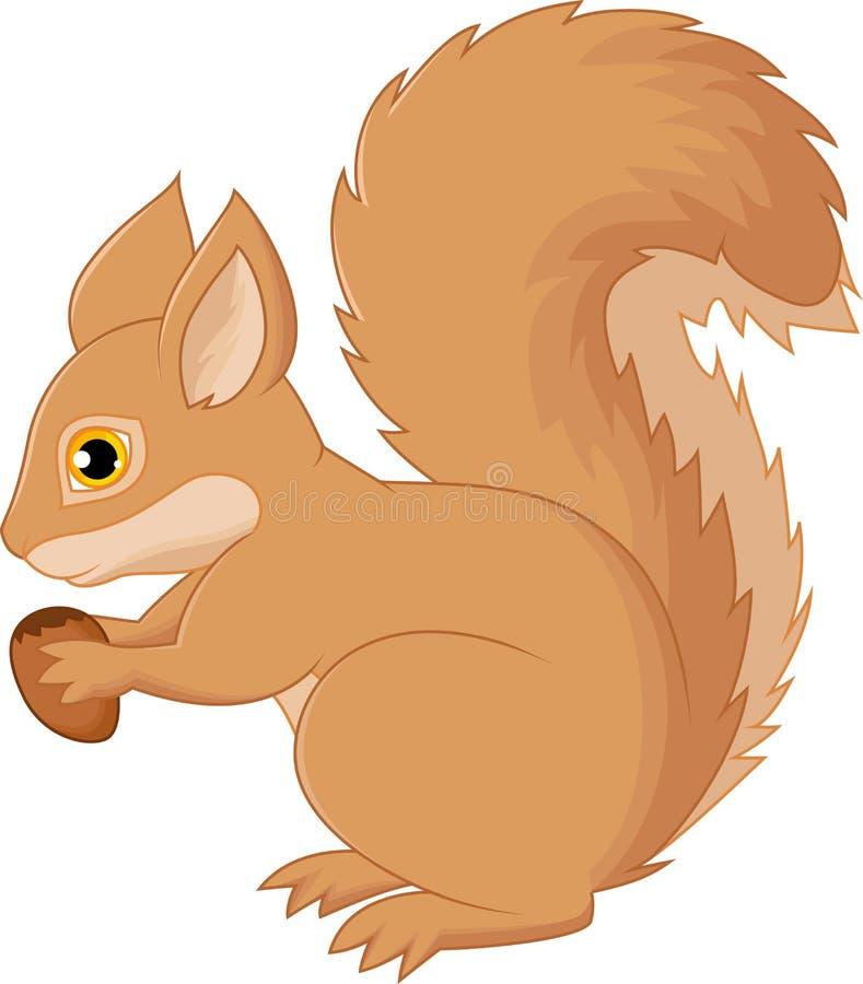 Desenhos animados do esquilo que guardam a porca ilustração royalty free