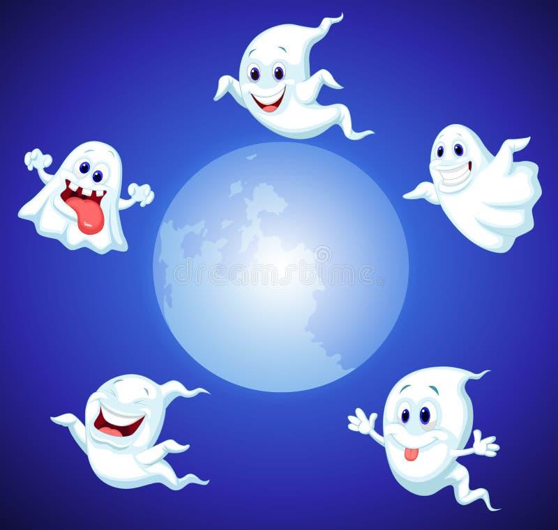 Desenhos animados do fantasma de Dia das Bruxas ilustração do vetor