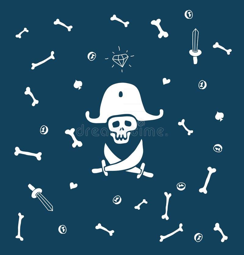 Desenhos animados do fundo do pirata ilustração stock
