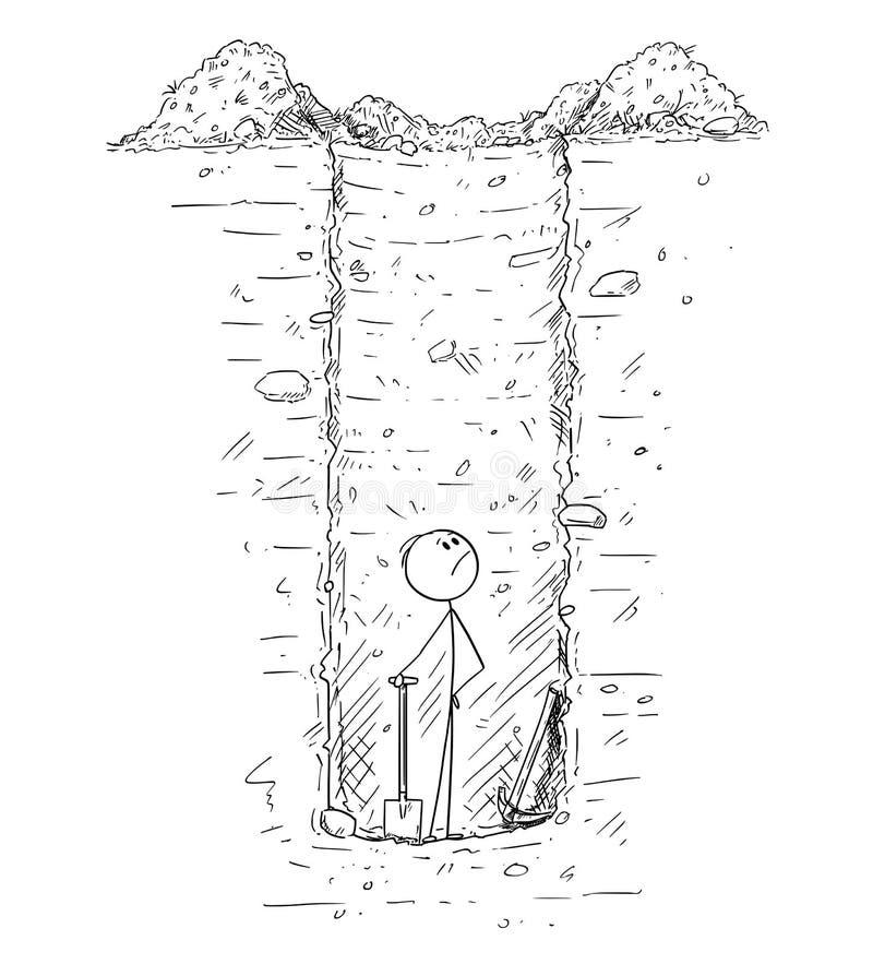Desenhos animados do furo profundo prendido homem do interior sozinho ou poço que de água escava na terra ilustração royalty free