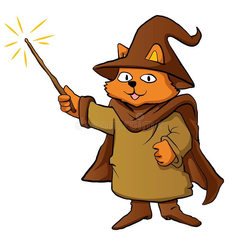 Desenhos animados do gato do feiticeiro ilustração royalty free