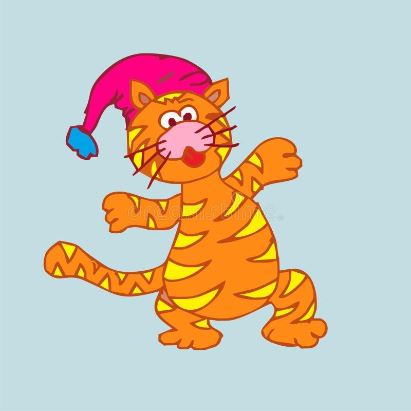 Desenhos animados do gato do Natal fotografia de stock