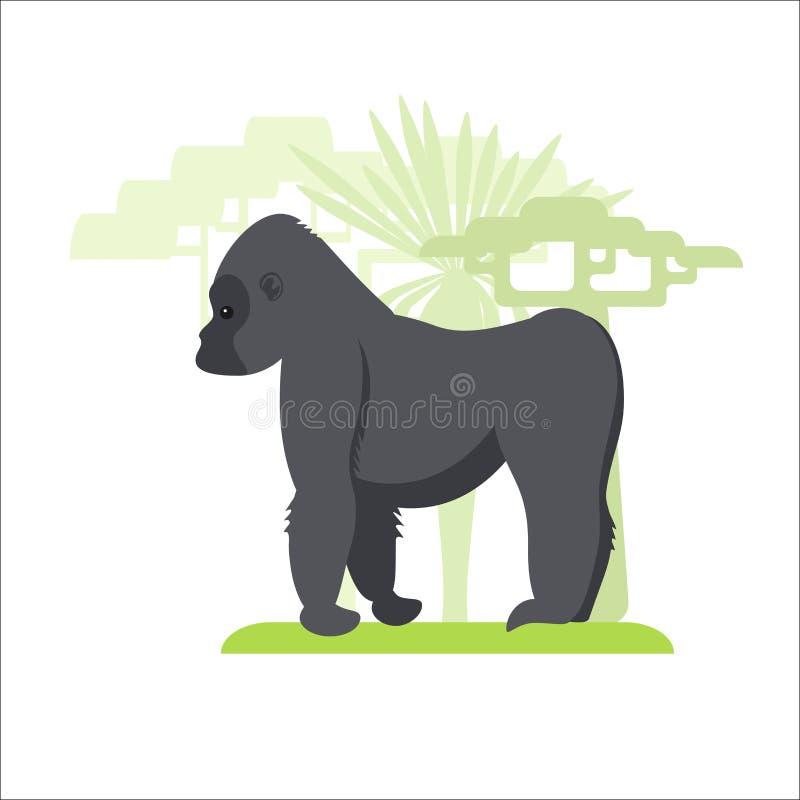 Desenhos animados do gorila na grama e nas árvores crescentes do fundo ilustração do vetor
