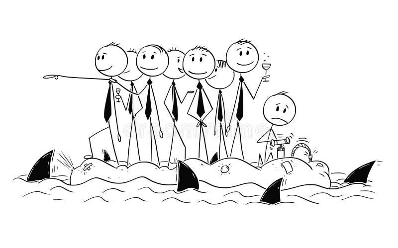 Desenhos animados do grupo de homens de negócios descontraídos ou de políticos no barco instável com tubarões ao redor ilustração do vetor