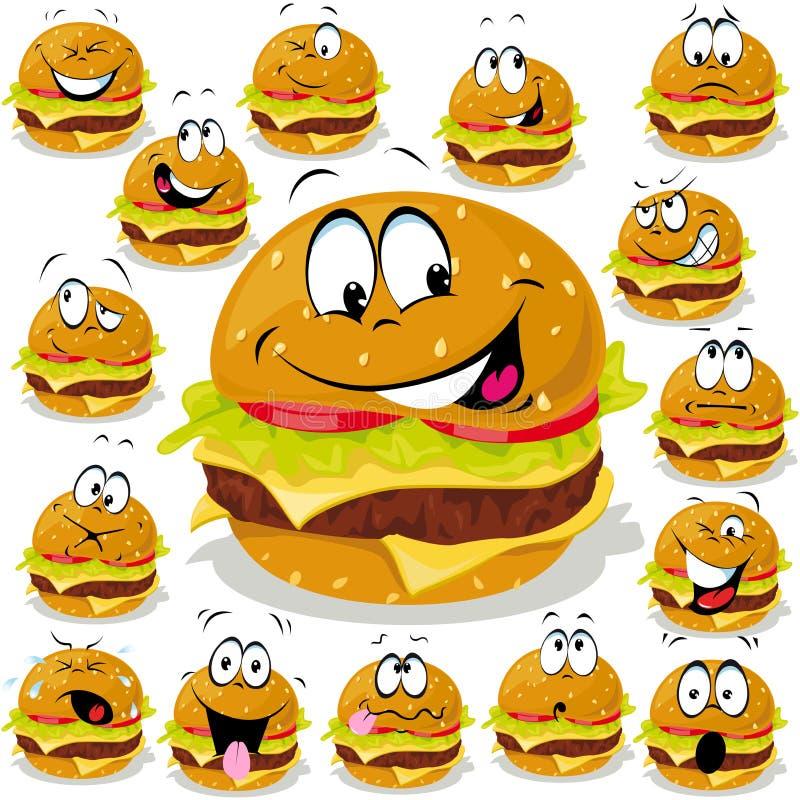 Desenhos animados do Hamburger ilustração royalty free