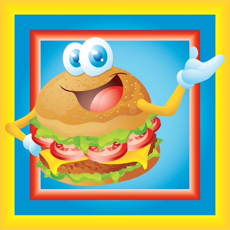 Desenhos animados do Hamburger com quadro ilustração stock