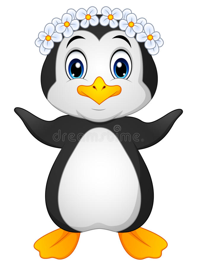 Desenhos animados do Hawaiian do pinguim ilustração do vetor