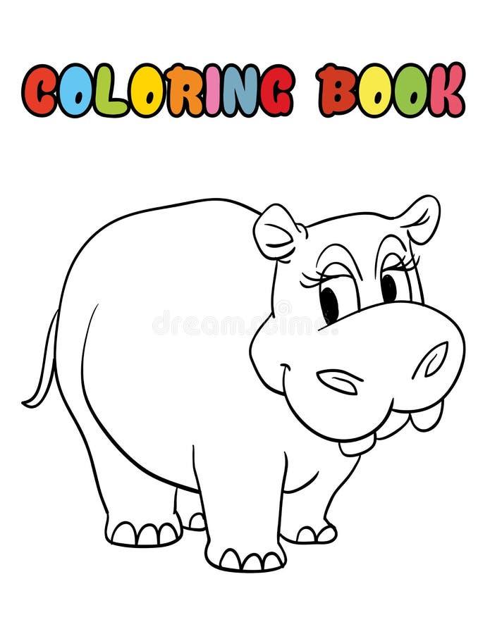 Desenhos animados do hipopótamo do livro para colorir fotos de stock