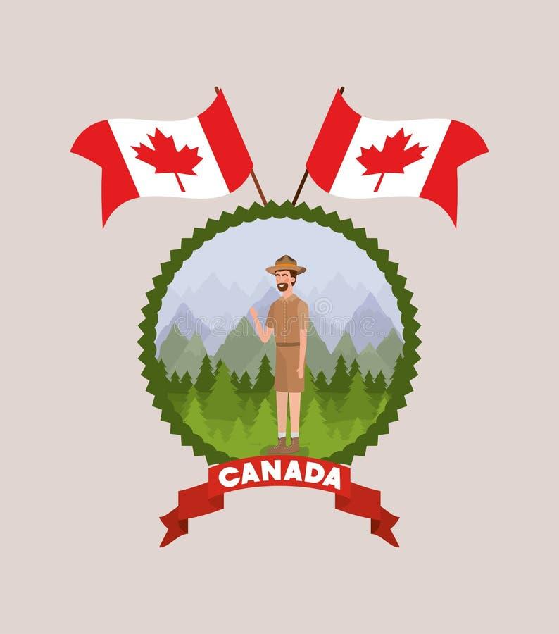 Desenhos animados do homem da guarda florestal da floresta e projeto de Canadá ilustração do vetor