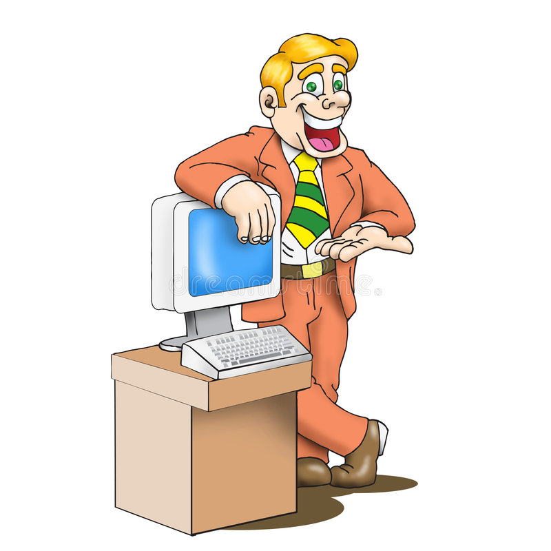 Desenhos animados do homem das vendas ilustração royalty free