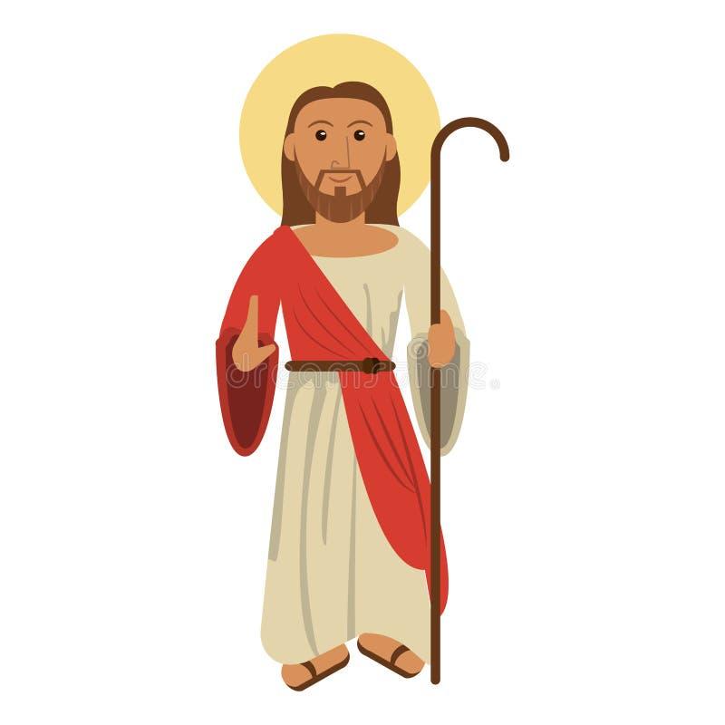 Desenhos animados do homem de Jesuschrist ilustração stock