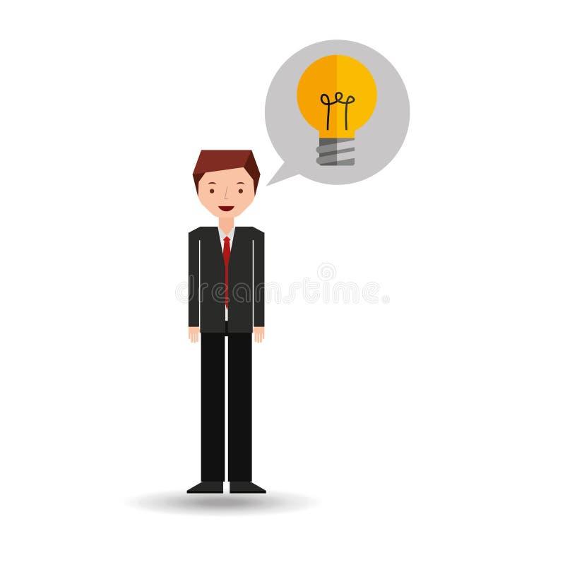 Desenhos animados do homem de negócio e ideia do bulbo ilustração royalty free