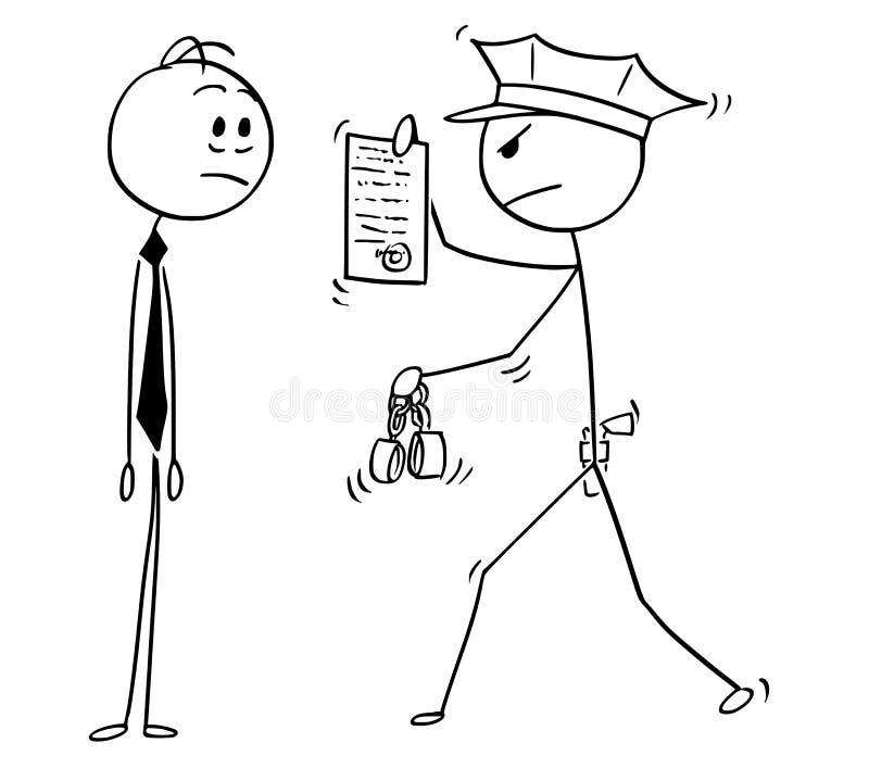 Desenhos animados do homem de negócios Arrested pelo polícia ilustração do vetor