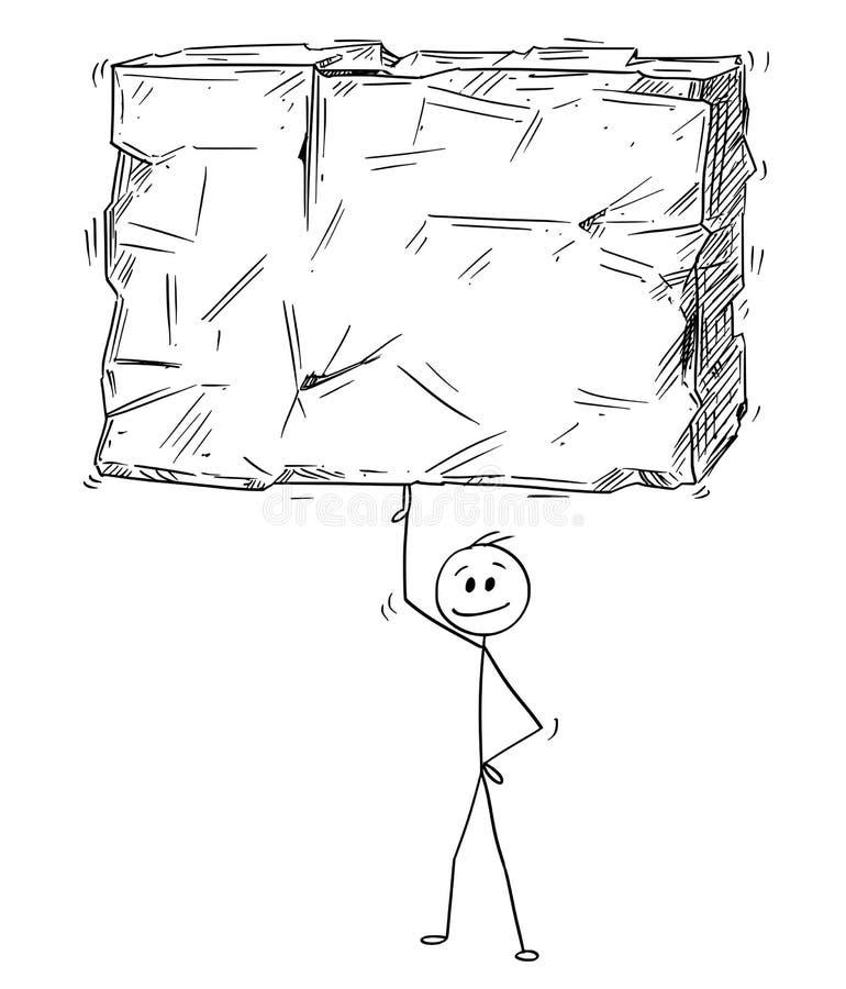 Desenhos animados do homem de negócios Balancing Big Stone ou do bloco da rocha em um dedo facilmente ilustração do vetor