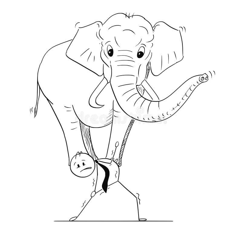 Desenhos animados do homem de negócios Carrying Elephant no seu para trás ilustração do vetor