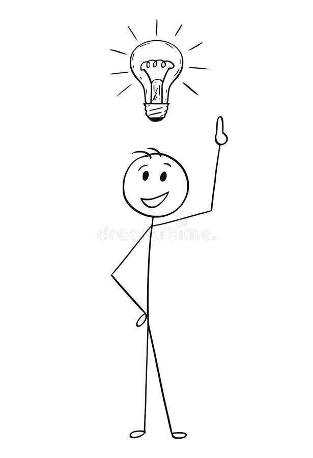 Desenhos animados do homem de negócios com a ampola acima da cabeça ilustração stock