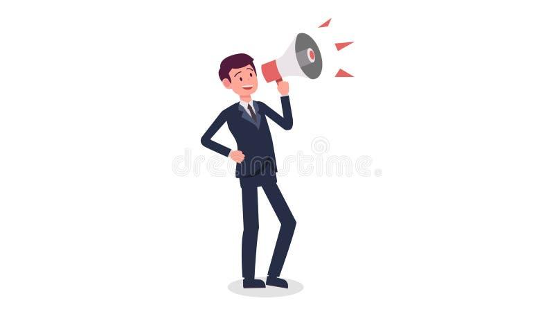 Desenhos animados do homem de negócios que guardam o megafone com vetor branco isolado do fundo Gritaria do homem novo com megafo ilustração royalty free