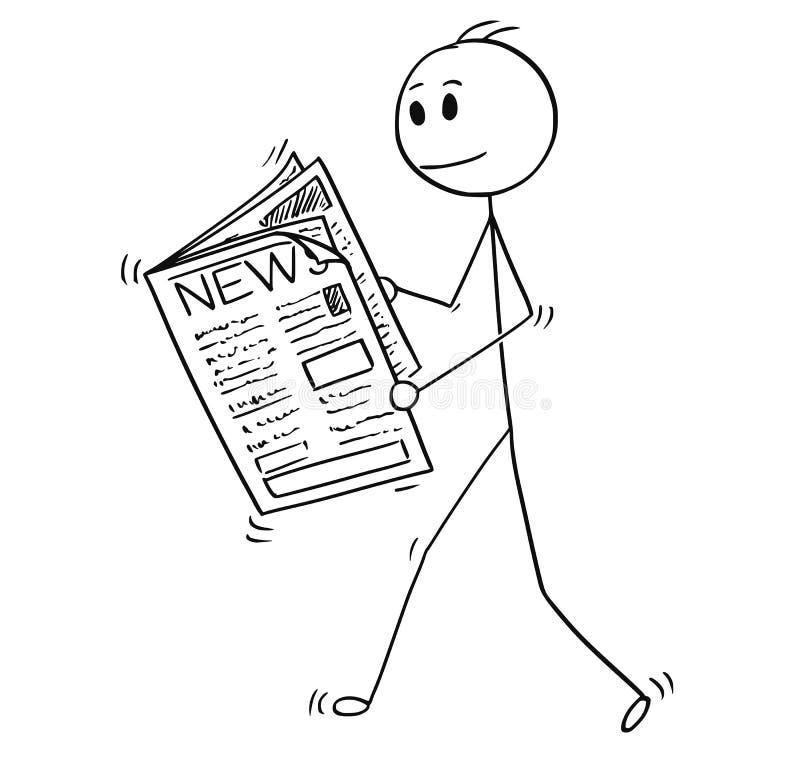 Desenhos animados do homem de negócios Reading News no jornal ilustração do vetor