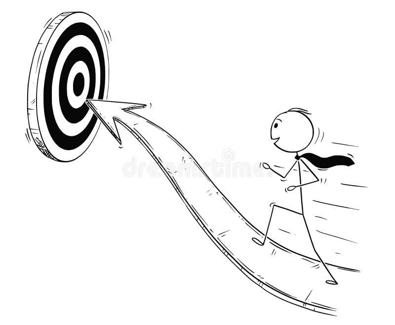 Desenhos animados do homem de negócios Running On Arrow para o sucesso ilustração royalty free