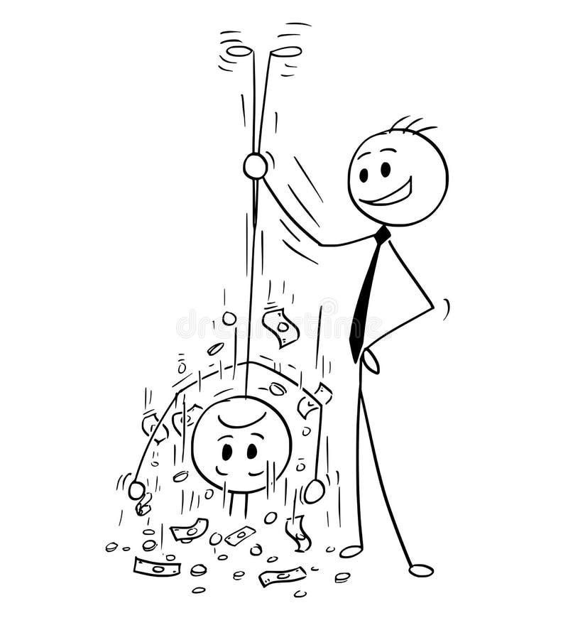 Desenhos animados do homem de negócios Shaking Out Money de seu cliente ou cliente ilustração royalty free