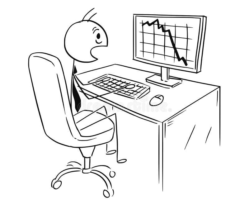 Desenhos animados do homem de negócios Shocked pelo mercado, o lucro ou a carta ou o gráfico do custo que caem para baixo ilustração stock