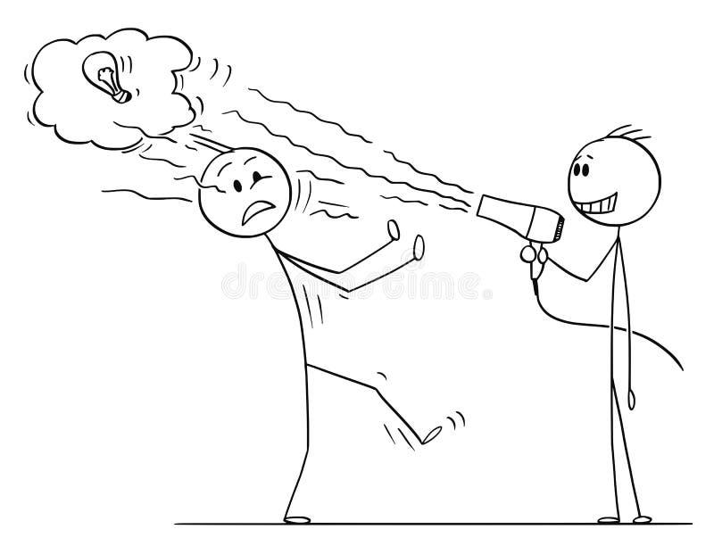 Desenhos animados do homem de negócios Using Hairdryer para purgar a ideia do concorrente do negócio ilustração stock