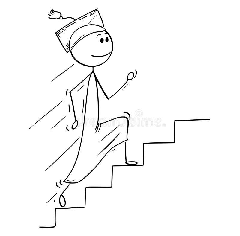 Desenhos animados do homem graduado que correm acima escadas ou escadaria