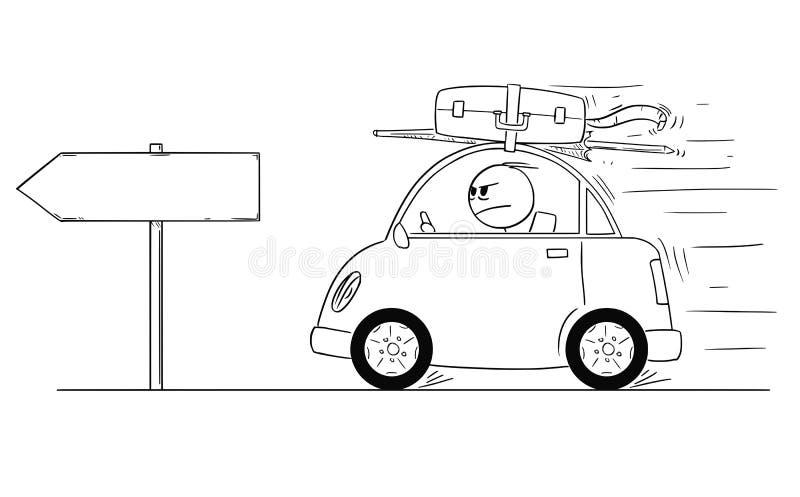 Desenhos animados do homem infeliz ou irritado que vai para trás ou que retorna no carro pequeno do feriado ou das férias Sinal v ilustração stock
