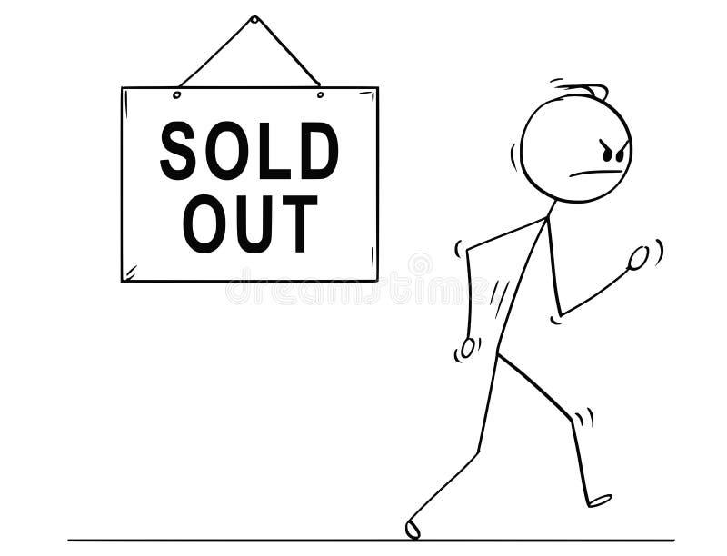 Desenhos animados do homem irritado que andam da loja ou da loja para fora vendida ilustração do vetor