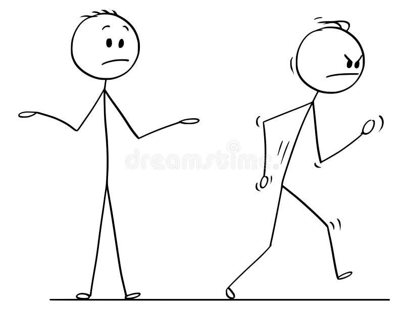 Desenhos animados do homem irritado que saem da conversação vigorosamente ilustração royalty free