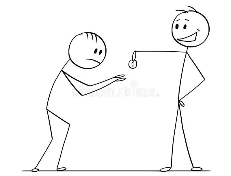 Desenhos animados do homem ou do homem de negócios arrogante altivo Giving One Coin ao mendigo ou ao suplicante ilustração stock
