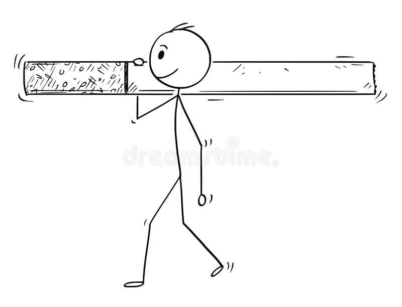 Desenhos animados do homem ou do homem de negócios Carrying Big Cigarette ilustração do vetor