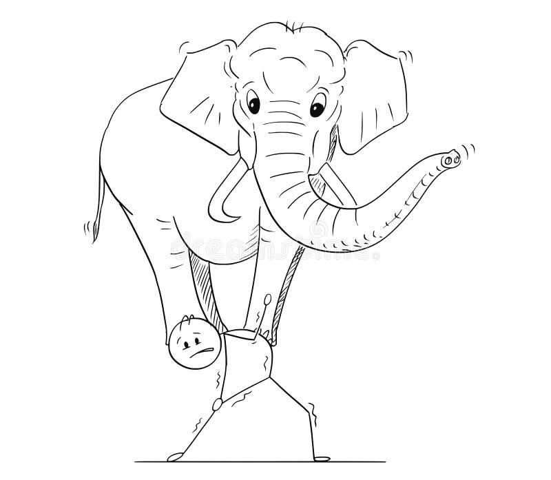 Desenhos animados do homem ou do homem de negócios Carrying Elephant no seu para trás ilustração stock