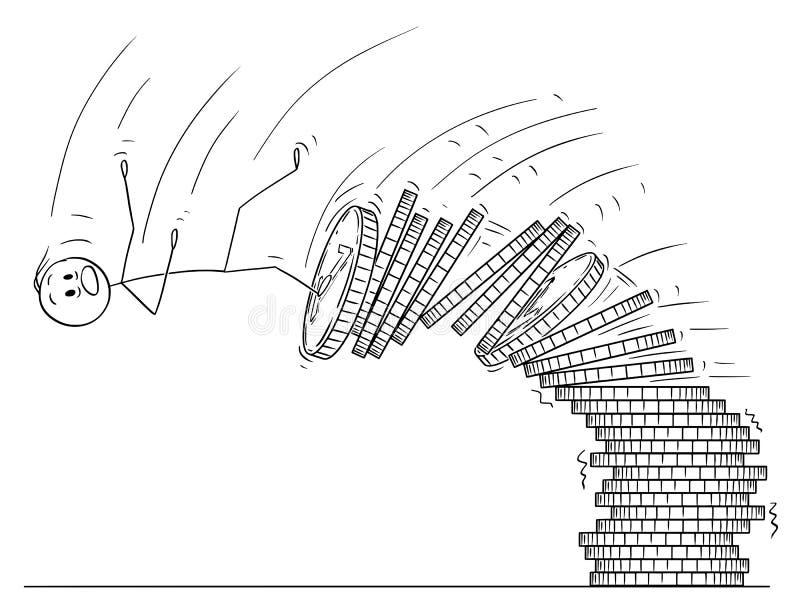 Desenhos animados do homem ou homem de negócios Falling From Pile das moedas ilustração stock