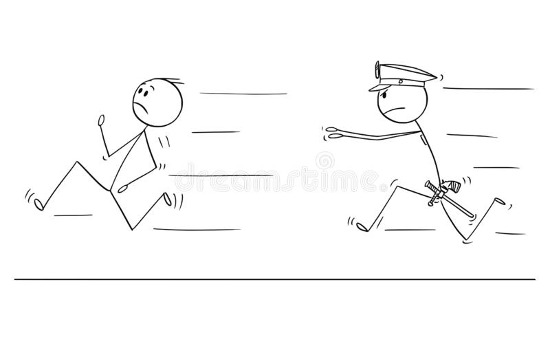 Desenhos animados do homem ou do homem de negócios Running From Policeman ilustração do vetor